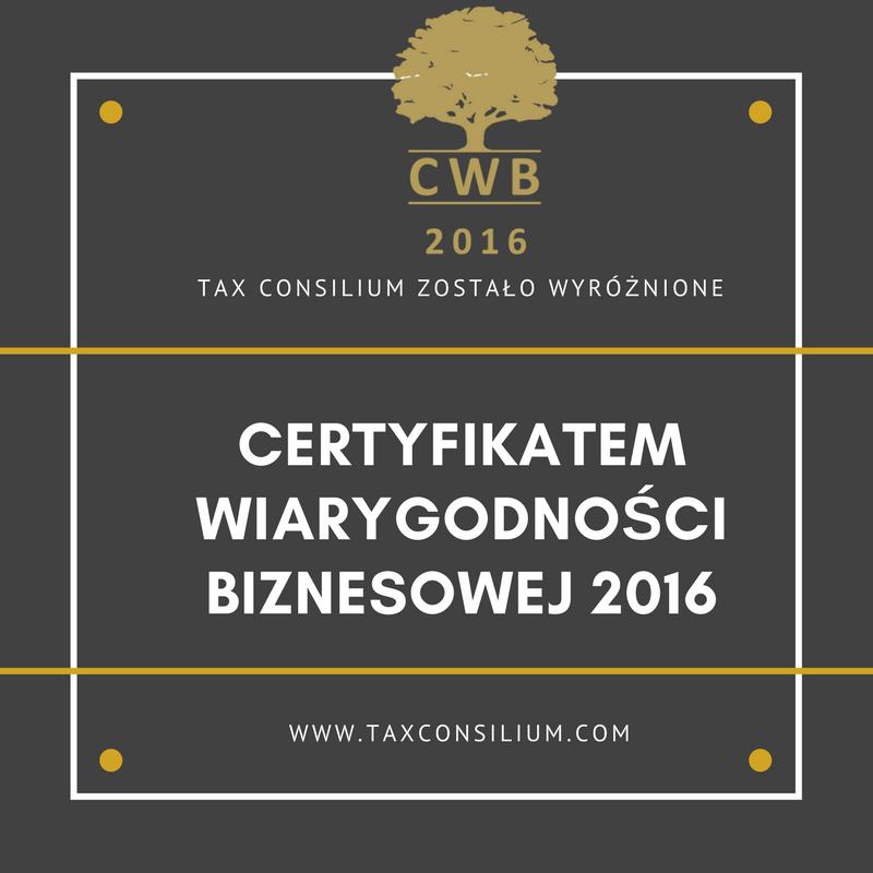 Certyfikat Wiarygodności Biznesowej 2016...