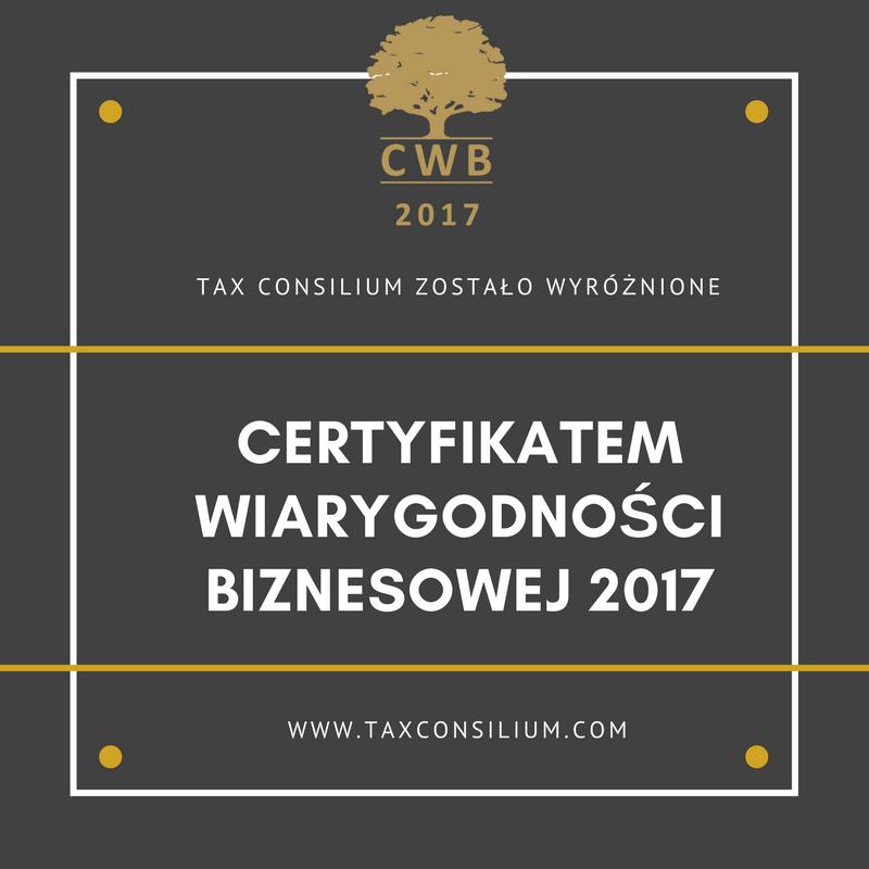 Certyfikat Wiarygodności Biznesowej 2017...